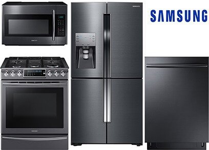 Samsung Slide-In and Counter Depth Black Stainless Kitchen Package - Gas