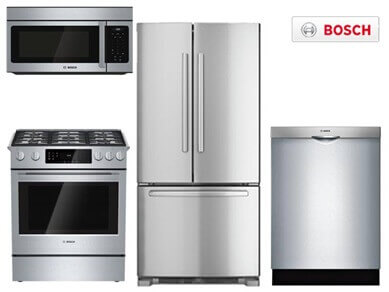 bosch slide-in stainless steel appliance package