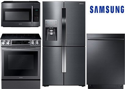 Samsung Slide-In and Counter Depth Black Stainless Kitchen Package - Electric