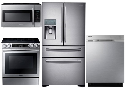Samsung Stainless Steel Package with Slide-In Range - Electric