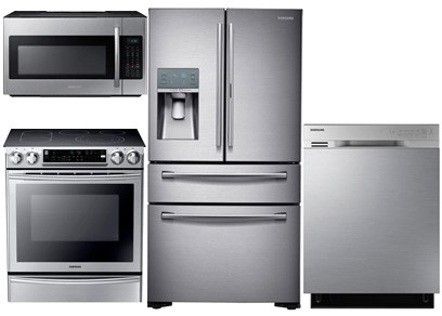 Samsung Stainless Steel Package with Slide-In Double Oven Range - Electric