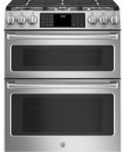 """GE Cafe(TM) Series 30"""" Slide-In Front Control Gas Double Oven with Convection Range"""