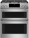"Caf(eback) 30"" Slide-In Front Control Gas Double Oven with Convection Range"